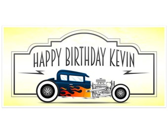 Classic Car Birthday Banner Personalized Decoration Backdrop