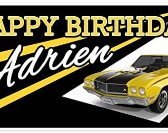 Black Classic GT Car Birthday Banner Vintage Personalized Party Backdrop
