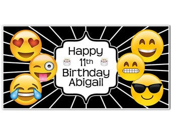 Emoji Icons Banner Birthday Personalized Party Backdrop