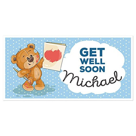 Bear Get Well Soon Banner Party Decoration