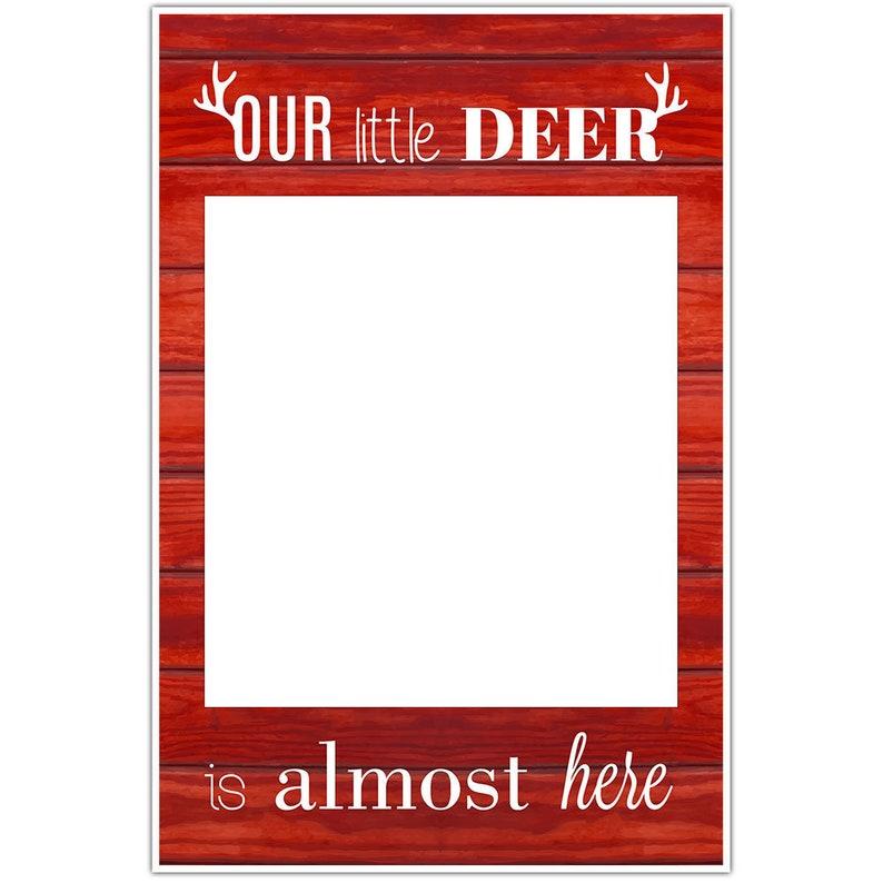 Little Deer Baby Shower Selfie Frame Social Media Photo Prop Poster