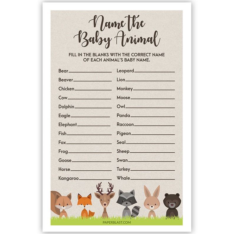 Name The Baby Animal Woodland Creatures Baby Shower Game Set of 30