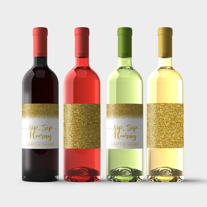 Party Decoration Sip Sip Hooray Birthday Personalized Wine Bottle Labels