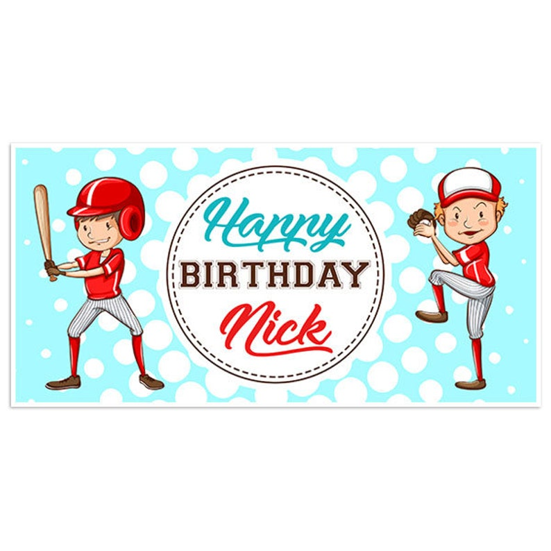Baseball Player Red Birthday Banner Personalized Party Backdrop Decoration