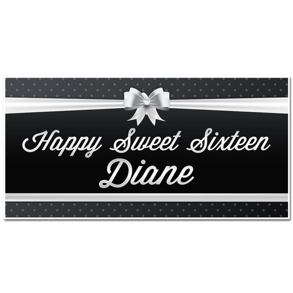 Sweet Sixteen 16 Black and Silver Birthday Banner Personalized Party Backdrop