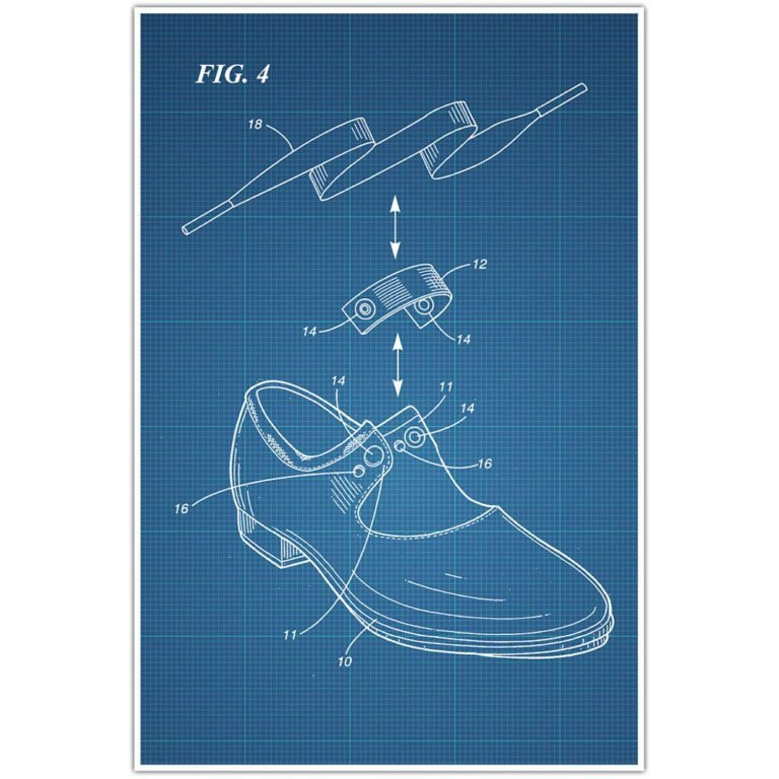 ballet tap shoes patent blueprint poster, ballerina photo art