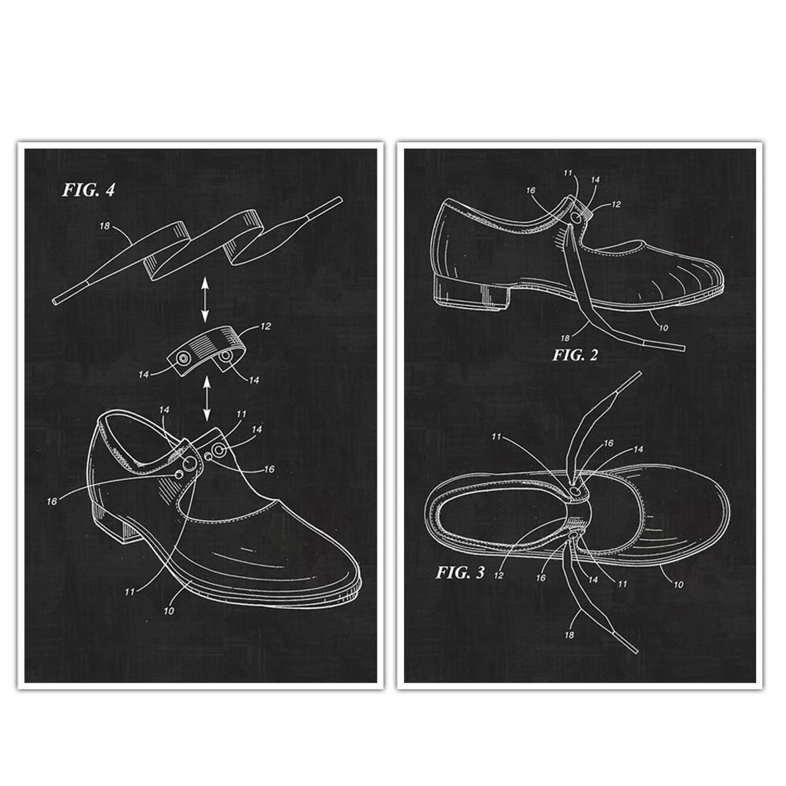 ballet tap shoes patent print posters – set of 2