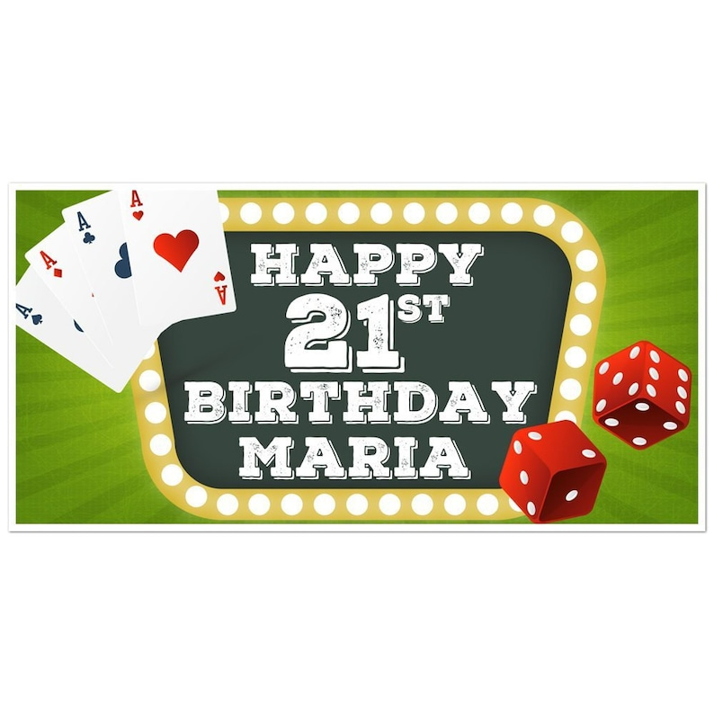 Playing Cards Dice Lighted Sign Birthday Banner Personalized