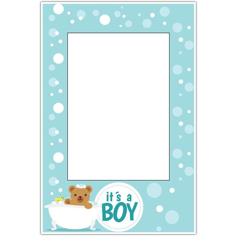 Teddy Bear Bubbles Baby Shower Selfie Frame Social Media Photo Prop Poster