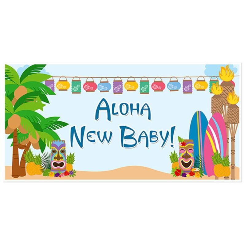 Hawaiian Luau Tropical Island Baby Shower Banner Blue