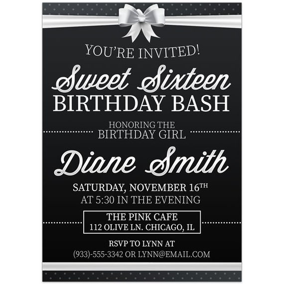 Black And White Sweet Sixteen 16 Birthday Party Invitations