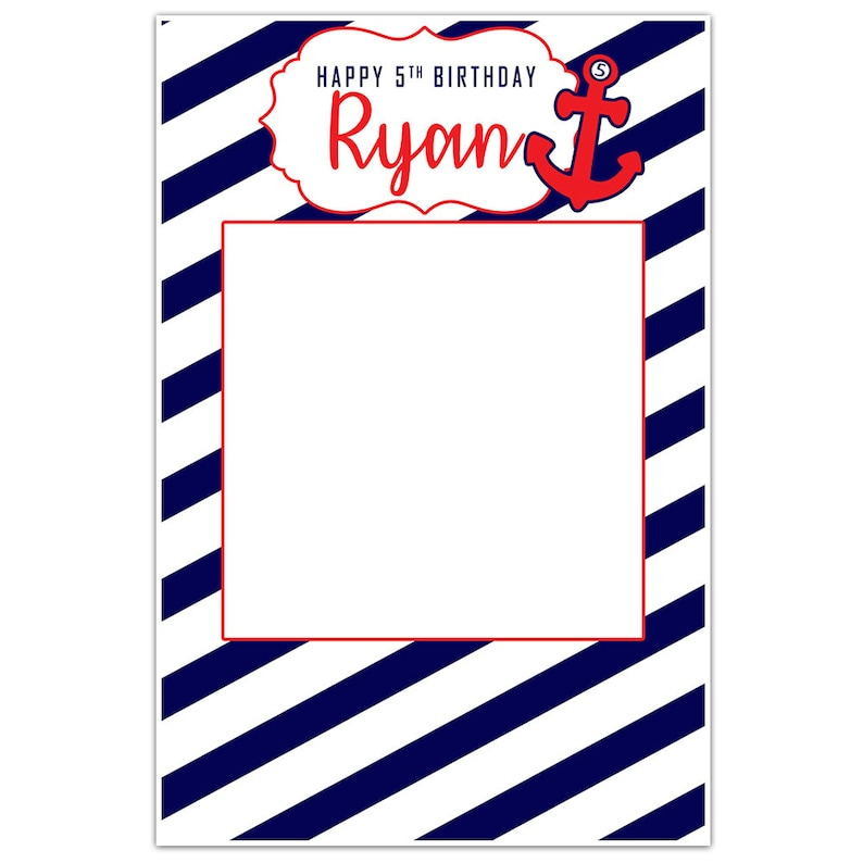 Nautical Stripes and Anchors Personalized Birthday Selfie Frame Photo Booth Prop Poster