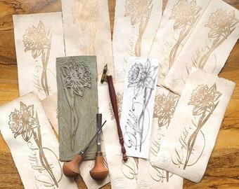 Daffodil - GOLD PRINT - original handmade linocut print