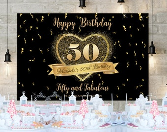 50th Birthday Backdrop For Woman Any Age 60th Black Gold Heard Template Party Decor Glitter And Decoration Backdrop10