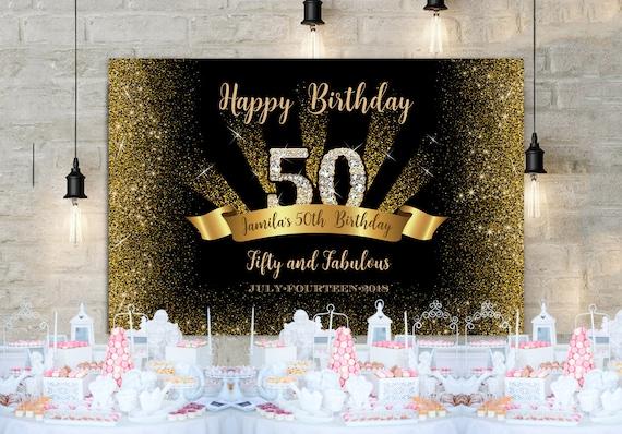 50 Geburtstag Hintergrund Jeden Alters 60 Schwarz Gold Und Etsy