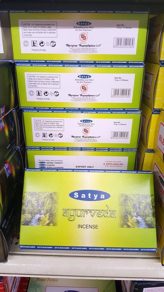 Satya Ayurveda encens d'Inde boîte de 12 packs 15 grammes chacune