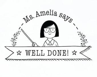Well Done Stamp Custom Teacher Personalised Gift School