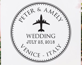 Custom Plane Save The Date Wedding Stamp Invitations Travel Destination RSVP Favors