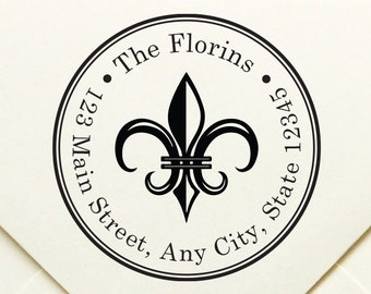 Personalized Fleur De Lis Return Address Stamp Custom Self Inking Round Monogram