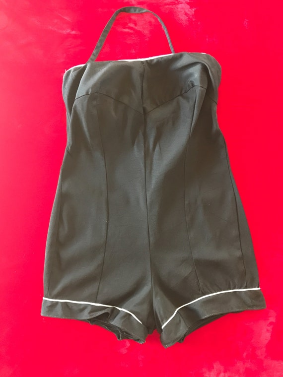4472acd544d 1950s Lane Bryant Black Swimsuit with White Piping