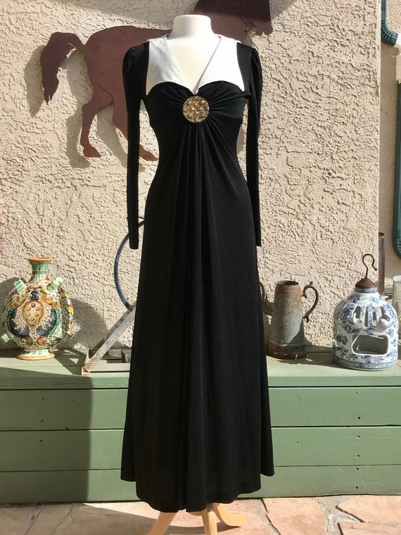 1970s Corky Craig of California Black Maxi Dress