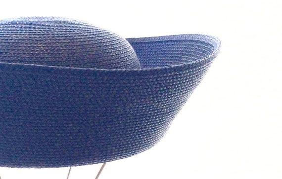 1980s Finely Woven Navy Blue Straw Breton by Betma