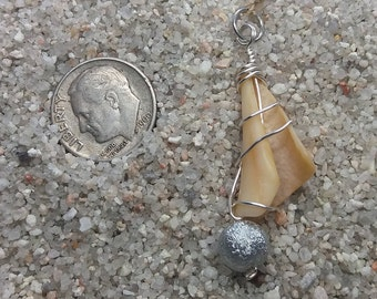 Small Whelk Spiral with Silver Disco Bead and Wire