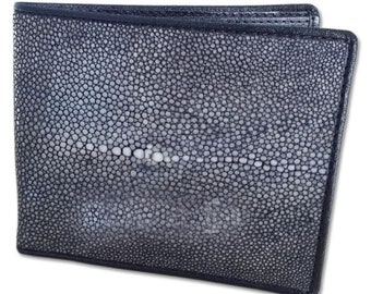 PELGIO Real Genuine Stingray Skin Leather Men/'s Bifold Credit Card Wallet Black