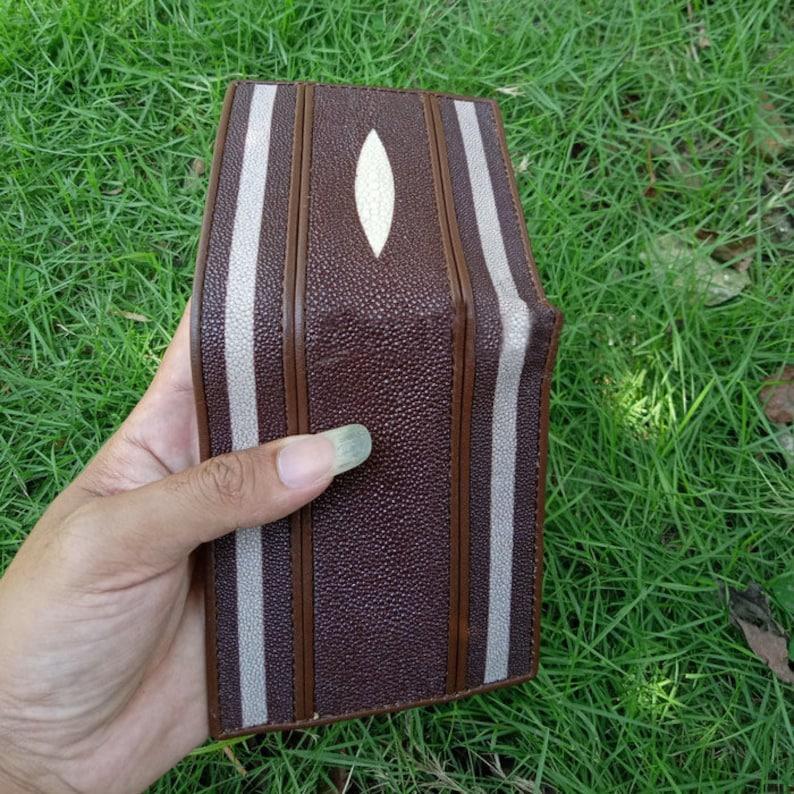 Brown Wallet Stingray Leather Diamond wint double strap white Genuine Handmade