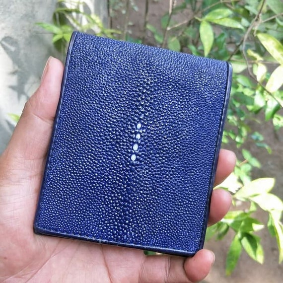 Genuine Stingray Wallets Skin Leather Bifold Money Clip Black Blue Men/'s Wallets