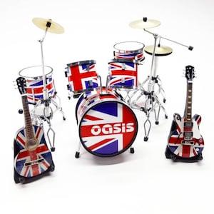 Miniature Drum Full White and Guitars Bass Mic Set Rock Star Band Musical Instrument Signature Display 112 Handmade