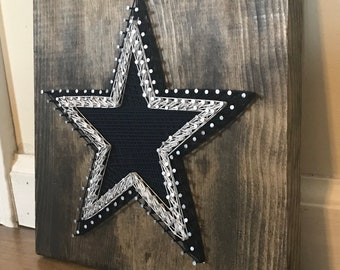Dallas Cowboys Star Logo String Art - Stained Pine Board - Made to Order cb7ab67be