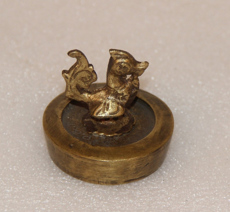 Brass Bird Paper Weight With Brass Base Collectible 11638