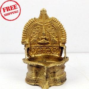 Vintage Brass Goddess Kamakshi Diya Worship Divine Oil Lamp Handcrafted Brass Oil Lamp 697 Goddess of Knowledge and Prosperity