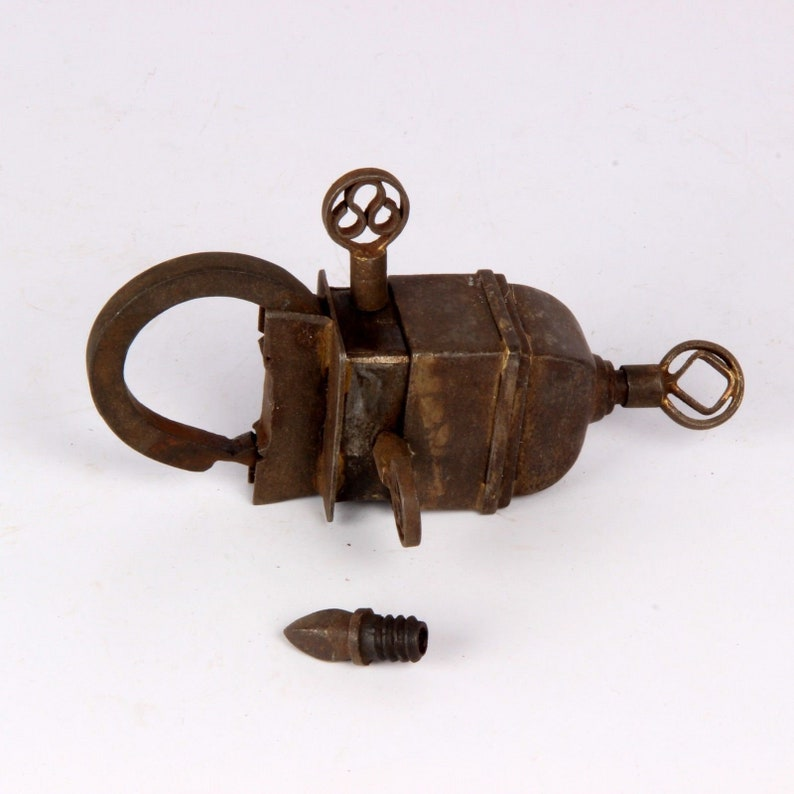 Collectible Old Antique Vintage Looking Tricky  Puzzle System 3 Keys Medium Iron Lock