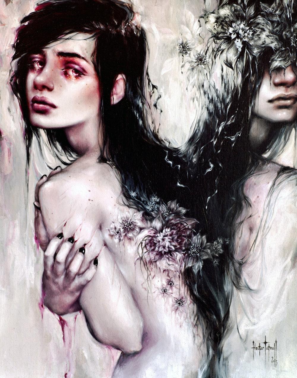 Rawflower Gothic Albino Fine Art Oil Painting Print
