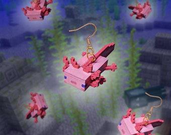 Handmade Minecraft Axolotl Earrings