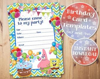 SpongeBob Birthday Invitation Fill In Invitations Blank Printable Digital Instant Download