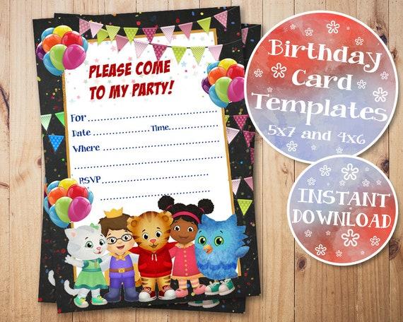 Daniel Tiger Birthday Invitation Fill In Invitations Blank Digital Instant Download