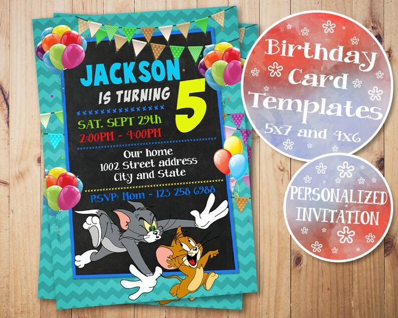 Tom And Jerry Invitation Tom And Jerry Birthday Invitation Etsy