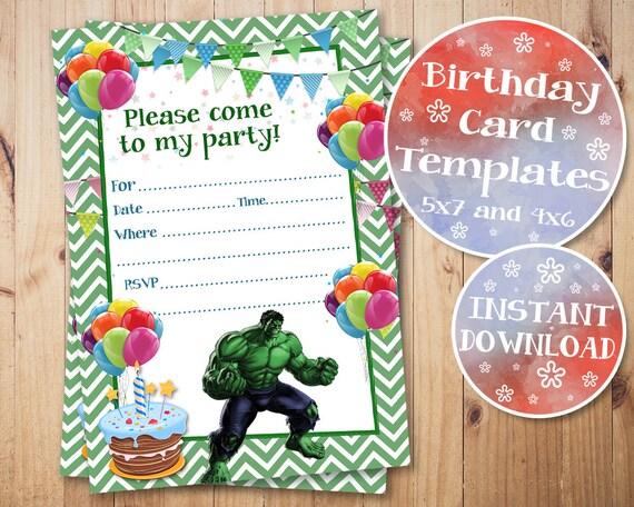 hulk birthday invitation hulk fill in invitations hulk blank etsy