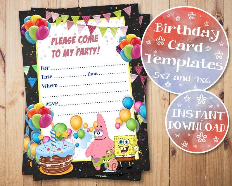 SpongeBob Fill In Invitations Birthday Invitation Blank Printable Digital Instant Download
