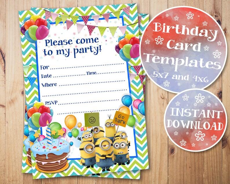 graphic regarding Printable Minion Birthday Cards referred to as Minions Birthday Invitation, Minions Fill In just Invites, Minions Blank Birthday Invitation, Minions, Printable, Electronic, Instantaneous Down load