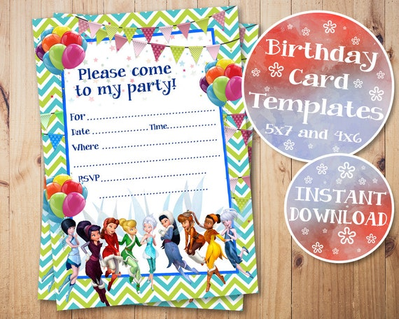 Tinkerbell Fill In Invitations Fairies Birthday