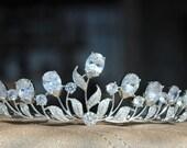 Royal Tiara, Crown, Bridal Tiara, Crystal Wedding Crown, Bridal Diadem, Wedding Tiara, Silver Tiara with Flower, Swarovski Tiara for bride