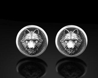 S1139 Wolf Cuff Links Pair Wolf Silhouette Cufflink Lifetime Guarantee Howling Wolf Cufflinks