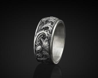 Carp and Waves Silver Men Band, Silver Ornament Ring, Stylish Men Rings, Carp and Waves Japanese Motifs Handmade Sterling Silver Men Ring