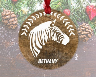 zebra christmas ornament zebra ornament personalized zebra lover gift rustic wood zebra christmas decor - Christmas Zebra Decorations