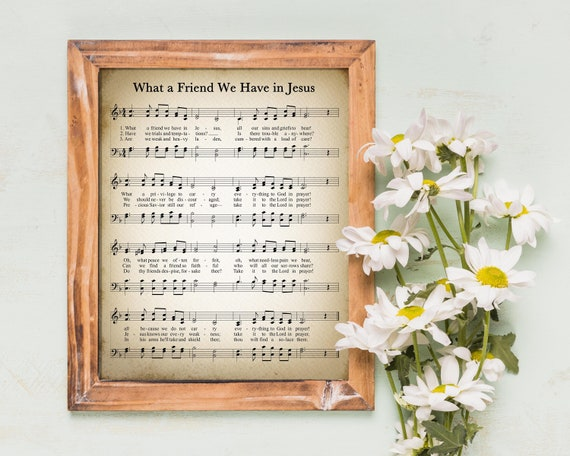 What A Friend We Have In Jesus Vintage Hymn Wall Art Print Biblical Sheet Music Print Poster Wall Home Decor Large Wall Art Gicl\u00e9e Art