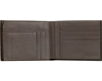 NEW MENS BIFOLD LUXURY GENUINE LEATHER BROWN WALLET CREDIT CARD /& COINS REDBRICK
